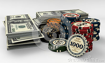 Casino chips and money