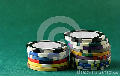Casino chips over green