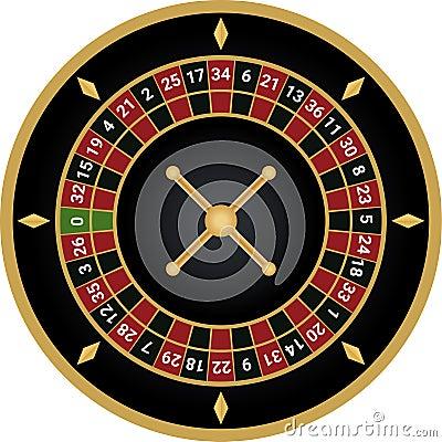 Casino european roulette vector Cartoon Illustration