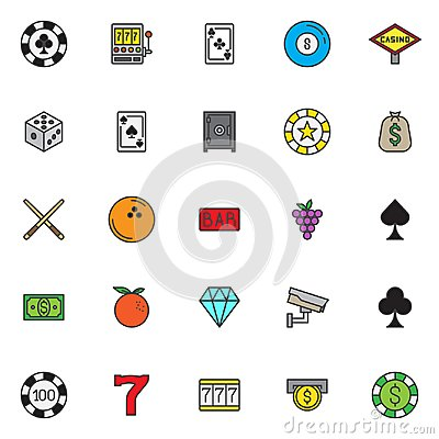 Free Casino Filled Outline Icons Set Stock Image - 112099101