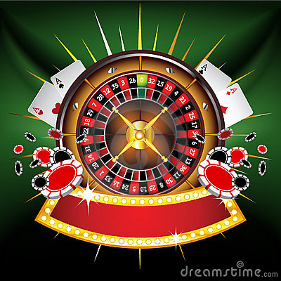 Free Casino Gold-framed Composition With Roulette Wheel Royalty Free Stock Images - 23081949