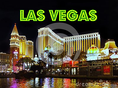 Las Vegas Strip Night Sign, Venetian Hotel Casino Attractions