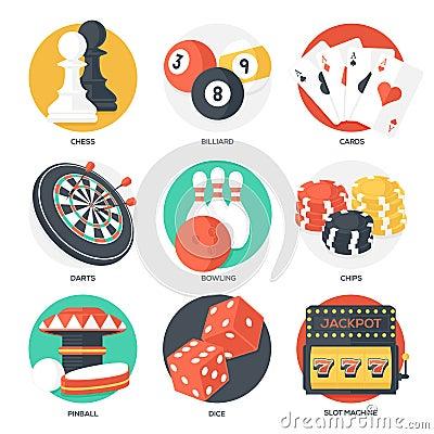 Free Casino Sport And Leisure Games Icons (Chess, Billiard, Poker, Darts, Bowling, Gambling Chips, Pinball, Dice And Slot Machine) Stock Photography - 51153102