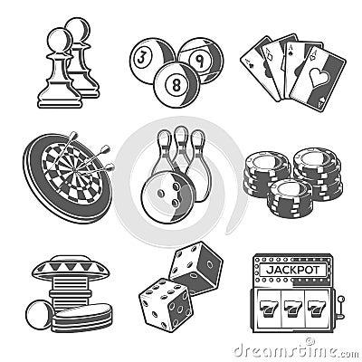 Free Casino Sport And Leisure Games Icons (Chess, Billiard, Poker, Darts, Bowling, Gambling Chips, Pinball, Dice And Slot Machine) Stock Photo - 51451260