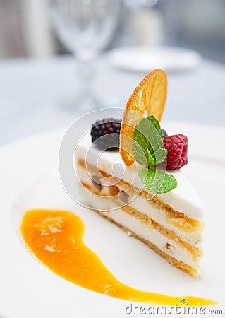 Free Cassata Dessert On Restaurant Table Royalty Free Stock Images - 27352469