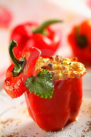 Free Casseroled Red Pepper With Cottage Cheese Royalty Free Stock Photos - 2101168