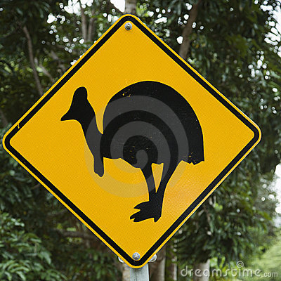 Free Cassowary Crossing Sign. Royalty Free Stock Photos - 4485688