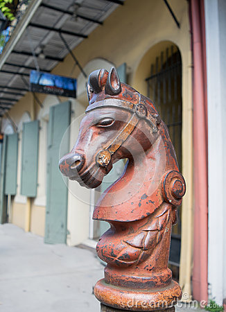 Free Cast Iron Horse Hitching Post In New Orleans Stock Photography - 54279372