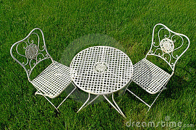 Cast Iron Patio Furniture Set on Green Grass