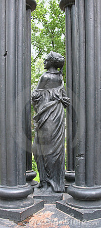 Cast iron sculpture of a girl