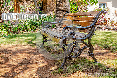 Cast Iron Wood Slatted Bench Garden Shade Cr2 Royalty Free