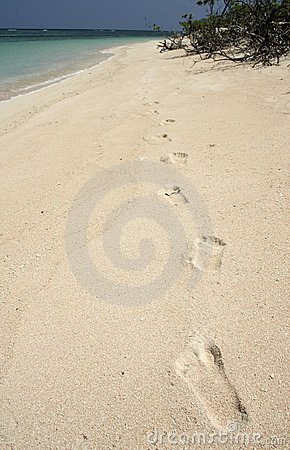 castaway footprints in sand background philippines