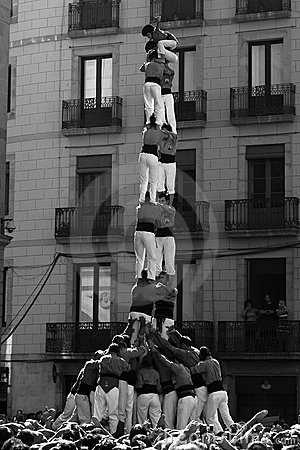 Castel - human towers. Barcelona Editorial Photo