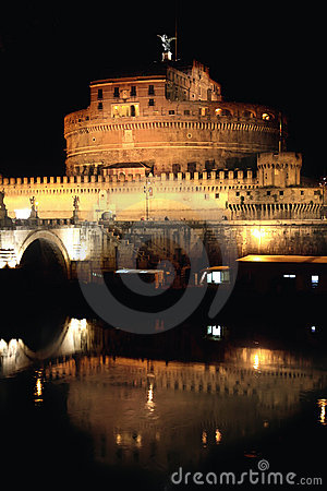 Castel Sant  Angelo night in Rome, Italy