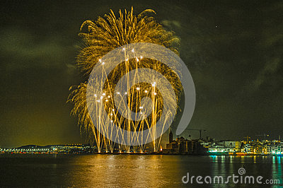 Castell de Foc within Festa Major celebrations Editorial Stock Photo
