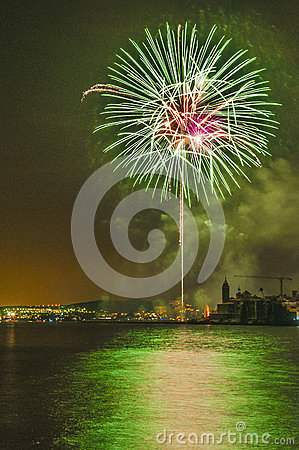 Castell de Foc onFesta Major celebrations Editorial Stock Photo