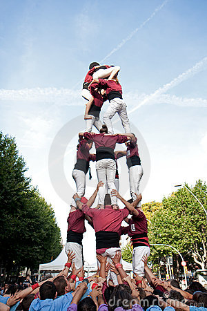 Castellers in Barcelona, Spain Editorial Photography
