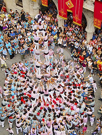 Castells in Terrassa Editorial Stock Photo