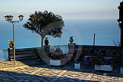 Castelmola, Sicily. Terrace overlooking sea.