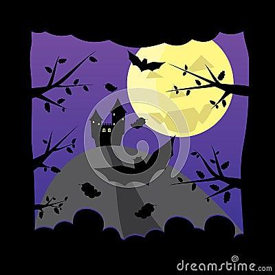 Castillo viejo en fondo oscuro de la luna de víspera de Todos los Santos de la noche