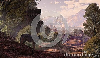 Castillo y lobo en las maderas