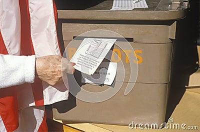 Casting vote at ballot box