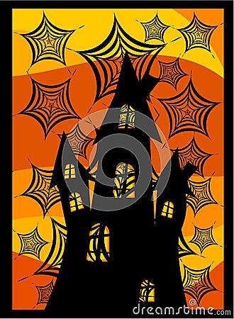 Castle behind spider webs