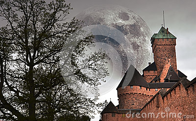 Castle and big moon