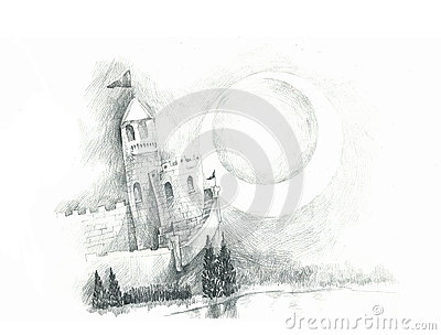 Castle and blue moon drawing illustration