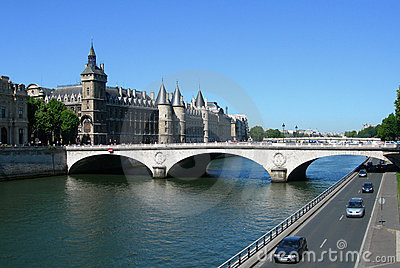 Castle and bridge over Seine in Paris