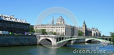 Castle and bridge over Seine in Paris