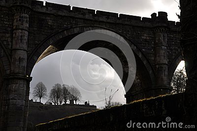 Castle bridge silhouette England