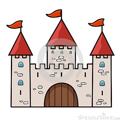 Free Castle Cartoon Drawing, Vector Illustration. Stone Beige Drawn Palace With Three Towers With Gates, Red Domes And Flags Isolated O Royalty Free Stock Images - 122205569