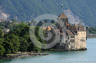 Castle Chillon on lake Leman near Montreux