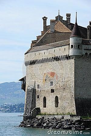 Castle Chillon on lake Leman near Montreux