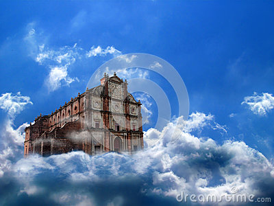 Castle, church in air, clouds, sky