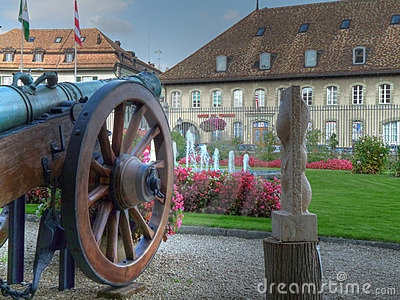 Castle courtyard in HDR, Morges, Switzerland