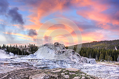 Castle Geyser at Sunset (Yellowstone)
