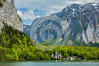 Castle at Hallstätter See mountain lake in Austria