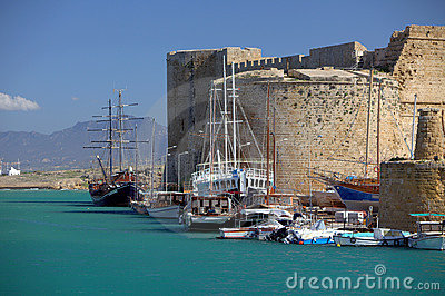 Castle and harbour in Kyrenia, Cyprus