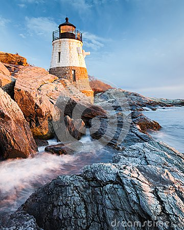 Free Castle Hill Lighthouse Newport Rhode Island At Sunset Royalty Free Stock Photos - 111362288