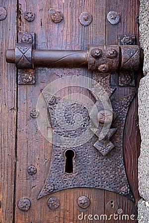 Free Castle Lock Spain Knocker Lanzarote Abstract Door Wood Royalty Free Stock Image - 58157766