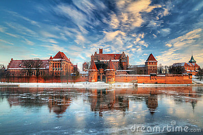 Castle in Malbork with winter reflection
