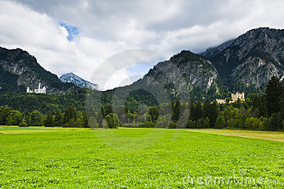 Castle Neuschwanstein and hohenschwangau with alps