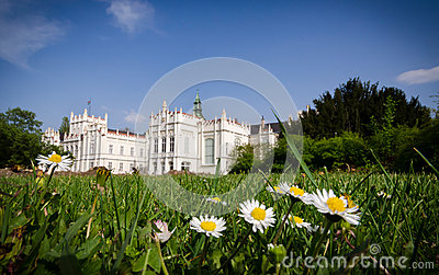 Castle park with flowers