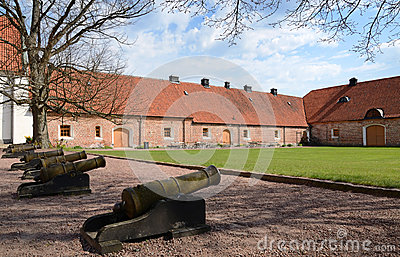 Castle porch with old cannons