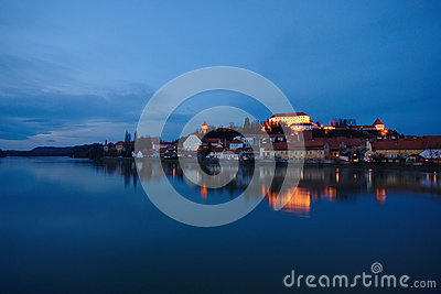 Castle By The River At Blue Hour