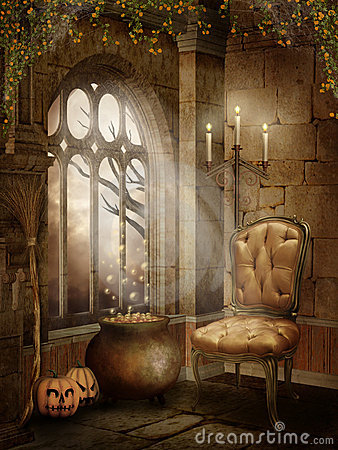 Castle Room With Halloween Decorations Royalty Free Stock