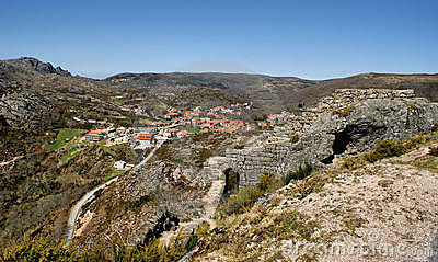 Castle ruins of Castro Laboreiro in north of Portugal