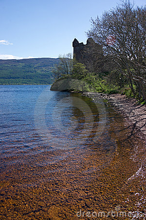 Castle ruins on the lake Loch Ness shore